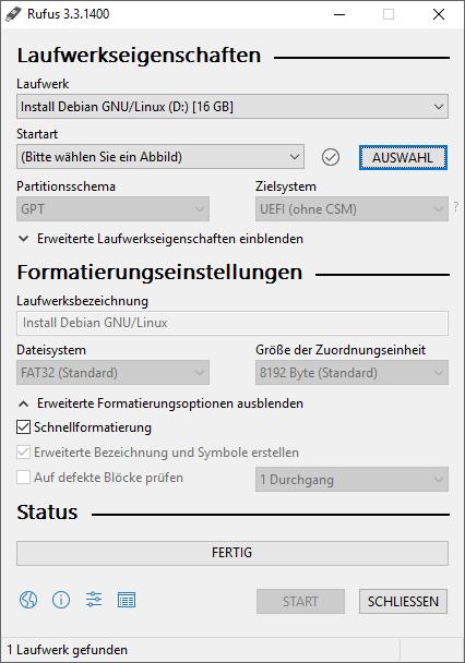 Erstellung von einem bootfähigen USB-Stick mit Debian - Jans