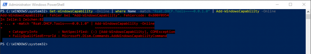 Windows 10 Version 1809 RSAT-Tools Installation schlägt fehl