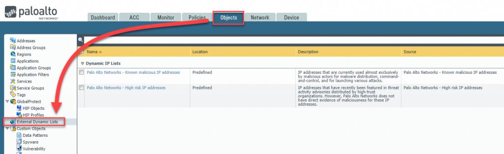 Dynamische Palo Alto Firewall-Regeln basierend auf Minemeld